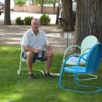 Greg enjoying the cool shade trees in Santa Fe New Mexico